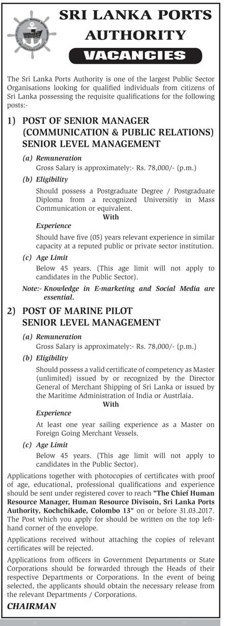 Senior Manager (Communication & Public Relations), Marine
